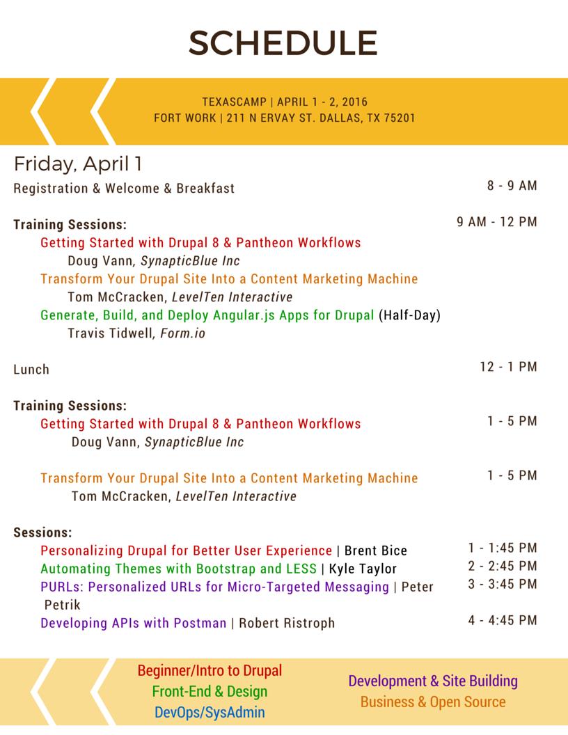 TexasCamp 2016 Friday Schedule