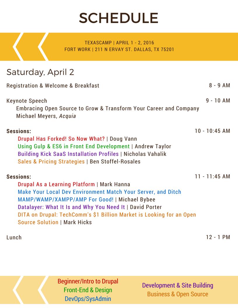 TexasCamp Schedule